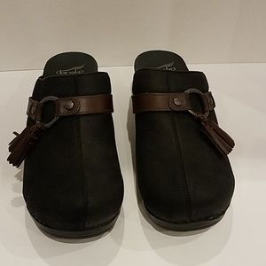 Dansko black tassled clogs Sz 11